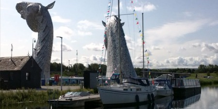 Macwester Malin yacht mast up Kelpies