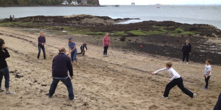 Aberdour beach cricket